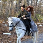 "Colin Farrell and Jessica Brown Findlay filming ""Winter's Tale"" in Prospect Park"
