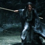 A warrior wields his sword in the Chinese movie Shadow