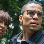 Meagan Goode and Michael Ealy look worried in the movie The Intruder