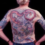 A tattooed person's back featuring an elaborate tattoo from the documentary Tattoo Uprising